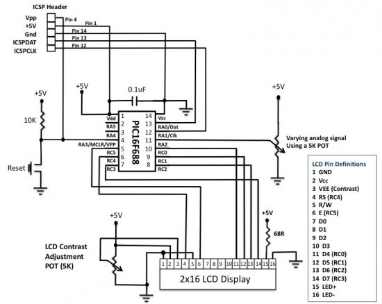 Analog to Digital Conversion using PIC16F688 ~ Embedded