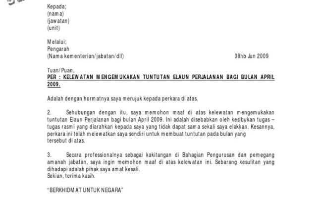 Surat Rasmi Memohon Maaf Atas Kelewatan Arasmi Cute766