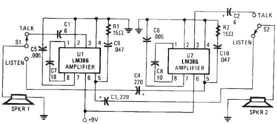Scematic Machine Inside: Intercom Circuit Diagram Lm386