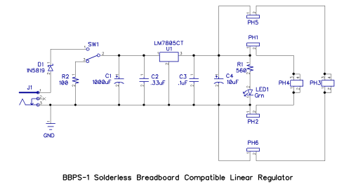 small resolution of the circuit for the bbps 1 is far from revolutionary but offers some features not available in other breadboard compatible regulators the schematic is