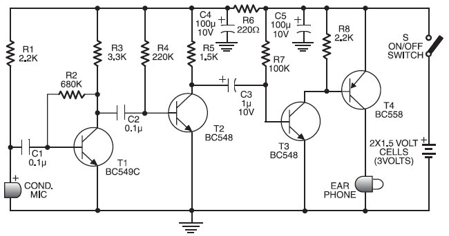 Draw your wiring : Ic 4558 Hearing Aid Circuit