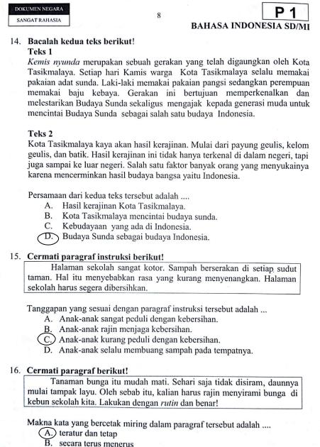 kunci jawaban buku siswa tema 8 kelas 6 halaman 102 104 106 107. Kunci Jawaban Bahasa Sunda Kelas 6 Semester 2 Jawaban Soal