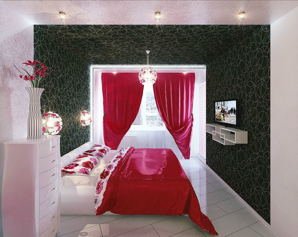 bedroom ideas with red curtains