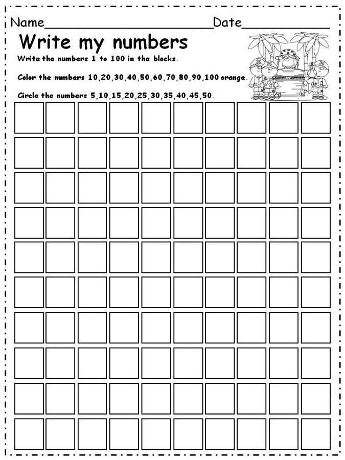 32 1-100 NUMBER WRITING SHEET