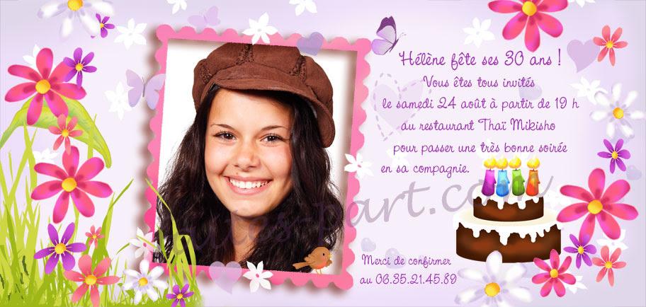 carte d invitation anniversaire d