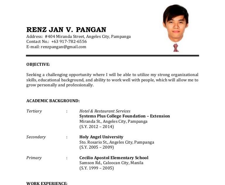 resume for service crew in jollibee
