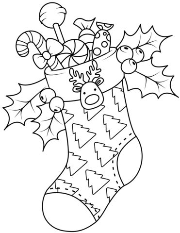 Draw Samples: Christmas Stocking Coloring Pages For Adults