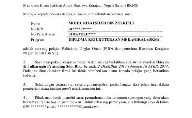 Contoh Surat Rasmi Untuk Memohon Cuti Tulisan Surat Buku Cute766