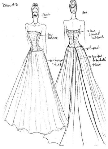 nysobukyfi: kate wedding dress sketches