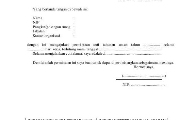 Contoh Surat Permohonan Cuti Tahunan Karyawan Surat W Cute766