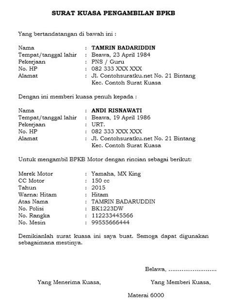 Contoh Surat Kuasa Pengambilan Bpkb Motor : contoh, surat, kuasa, pengambilan, motor, Pengambilan, Contoh, Surat, Kuasa, Bermaterai