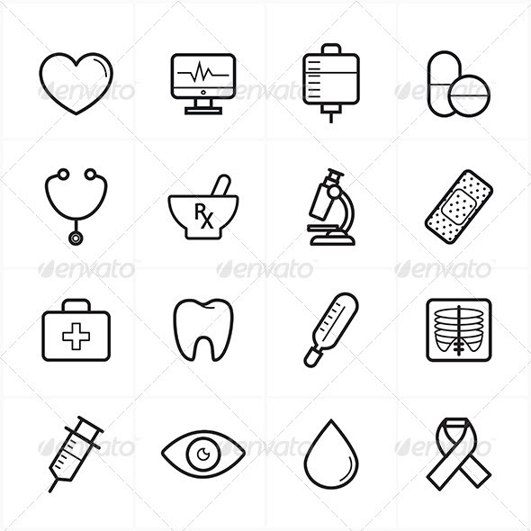 Flat Line Icons For Medical Icons and Healthcare (Icons