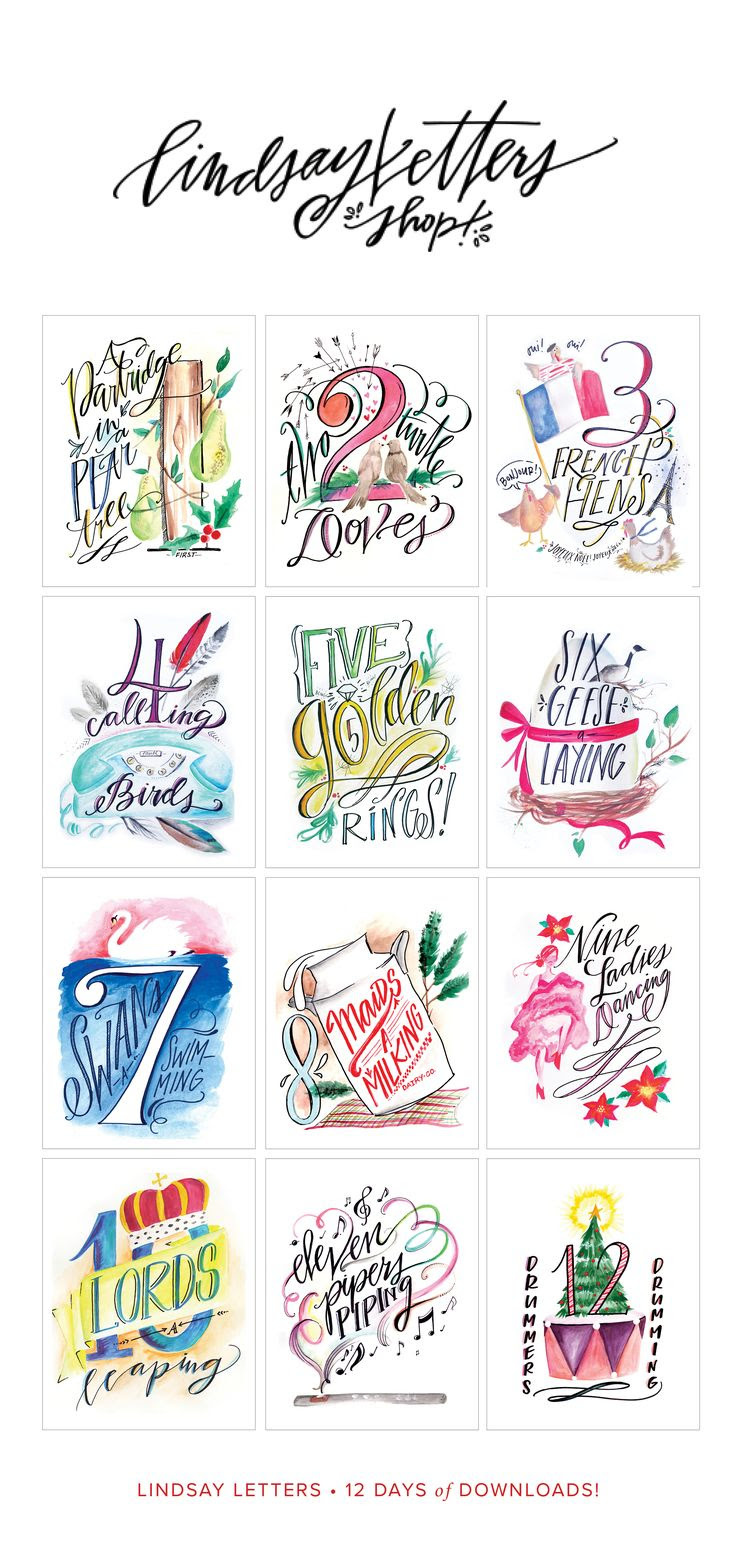 hight resolution of lindsay letters 12 days of christmas printables