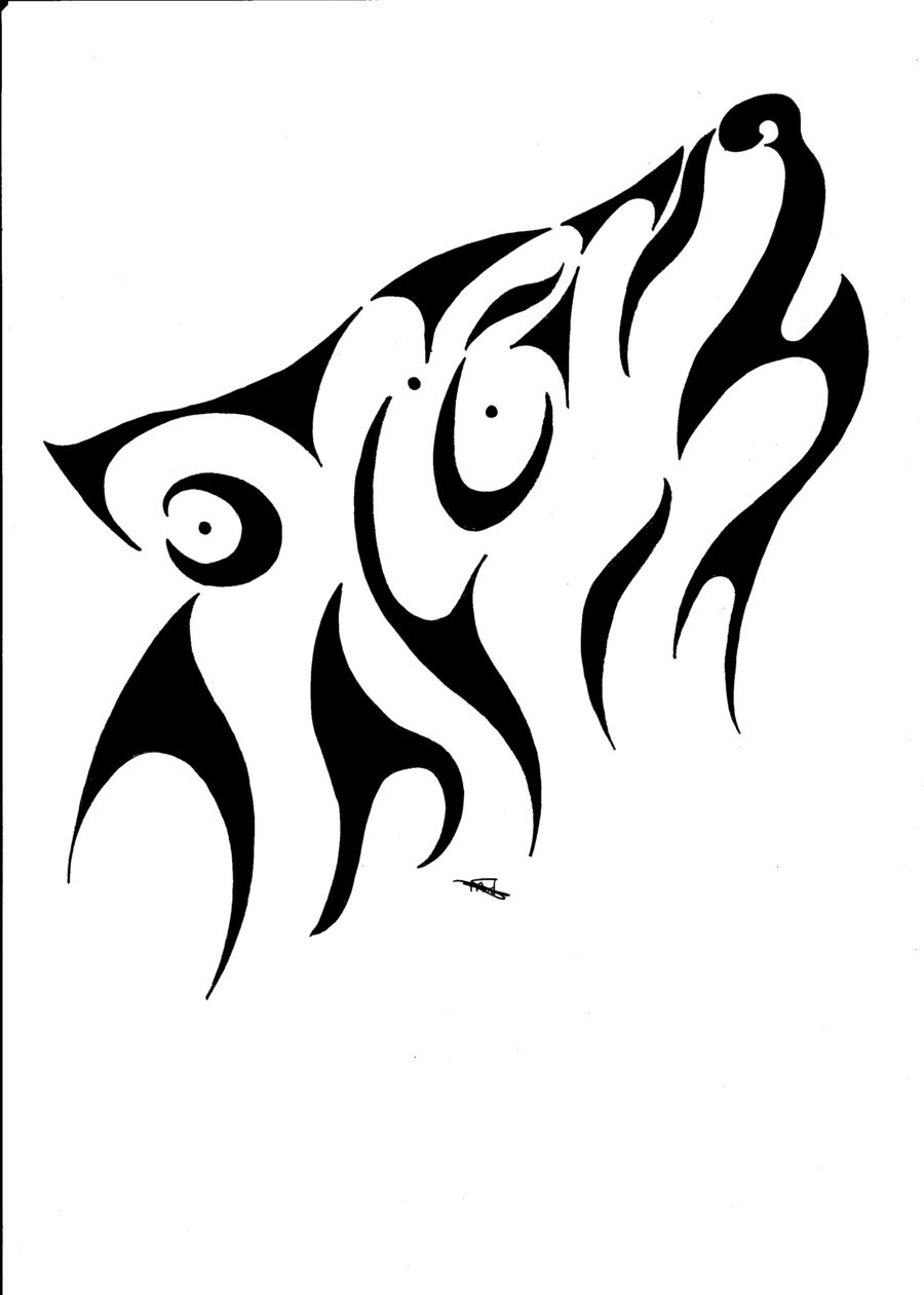 Tribal Wolf And Moon Drawing : tribal, drawing, Howling, Tattoo, Simple, Designs, Ideas