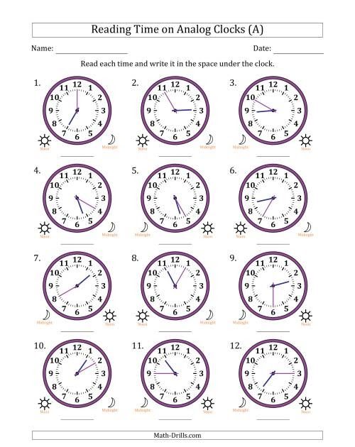 time worksheet: NEW 91 TIME WORKSHEETS 5 MINUTE INTERVALS