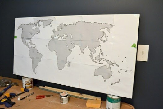Step one of office map art
