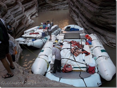 Rafts tied up at Matkatamiba Colorado River trip Grand Canyon National Park Arizona