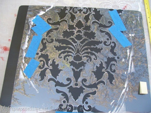 damask stenciling sewing cabinet (5)