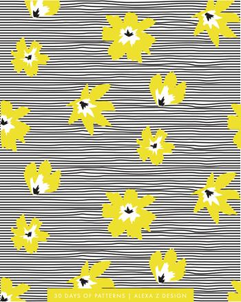 floral yellow stripes  - Alexa Z Design pattern