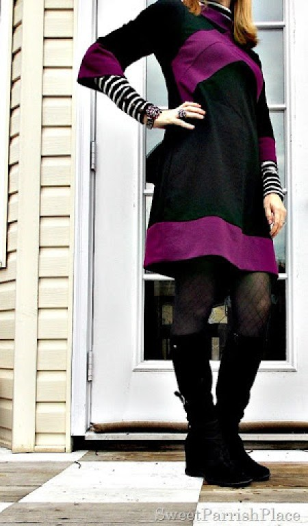 black and purple tunic dress with black boots2