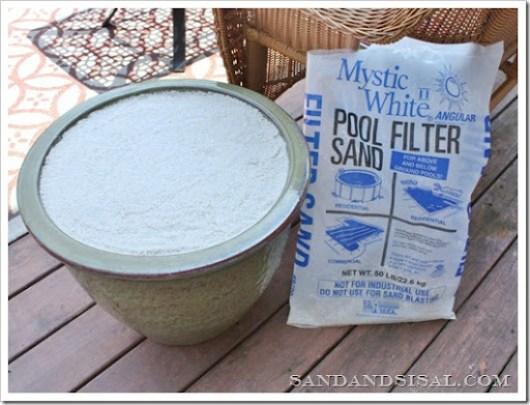 ceramic planter with sand