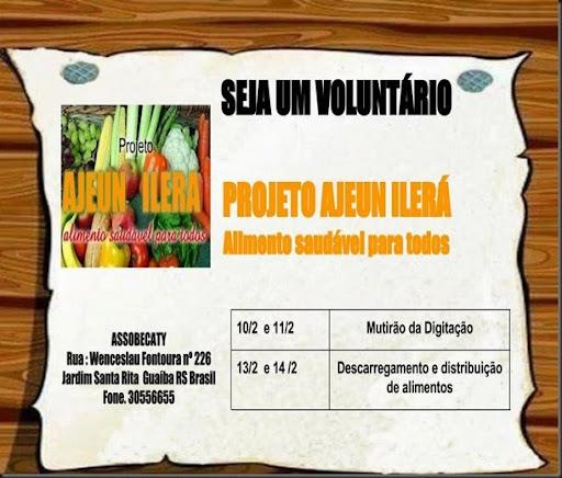 Chamada para voluntários Ajeun Ilerá