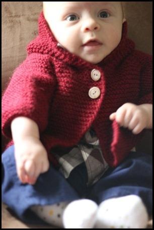 garter baby coat with hood