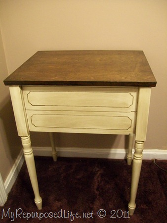 sewing cabinet as a bedside table