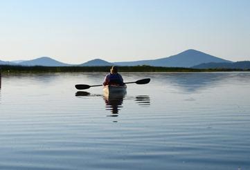morning kayak toward Pelican Bay
