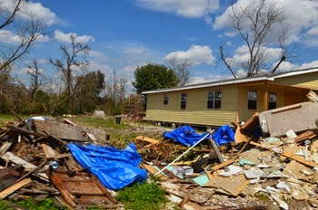 leftover from the tornado more than a year ago