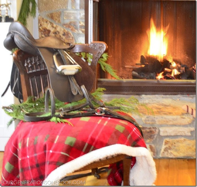 equestrian christmas mantel with english riding saddle