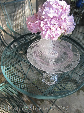 repurposed glassware dessert plate on a pedestal