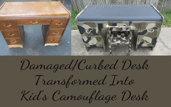 kid's camo desk with chalkboard