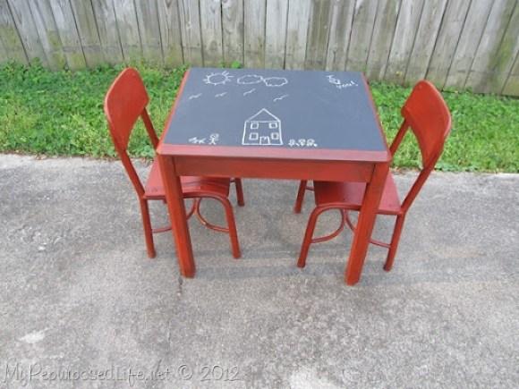 Kids Chalkboard table & chairs (4)