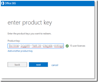 enter product key office 365