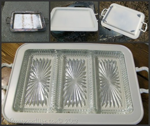My Repurposed Life-update silver serving tray with spray paint