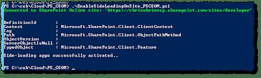 PS CSOM enable side loading