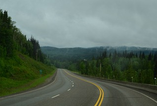 foggy misty morning on the Yellowhead Highway at mile pg119