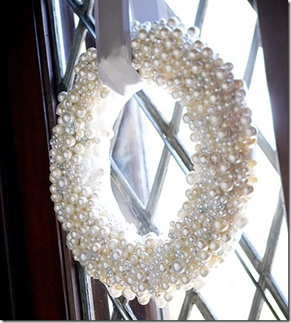 Winter wreath--winter wreaths made from craft store pearl strands