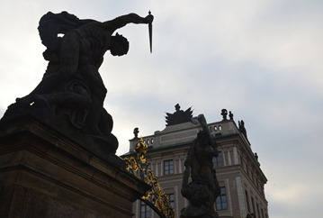 detail of the Fighting Giants at the entrance gate to the Grand Courtyard