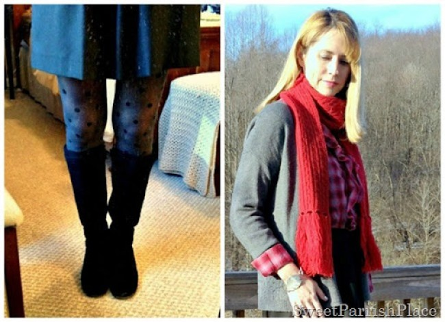 polka dotted tights outfit