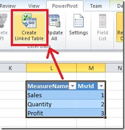 3 Create Linked table in powerpivot