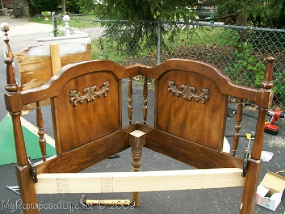 how to make a queen headboard corner bench
