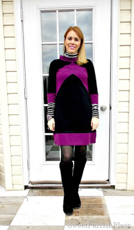 black and purple tunic dress with black boots