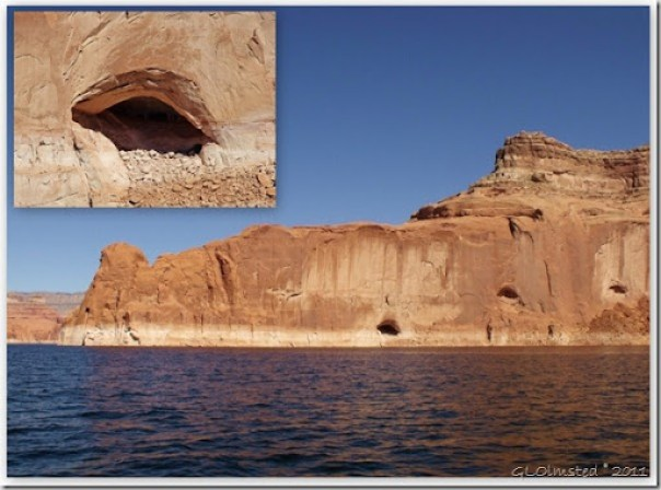 Shallow caves in sandstone Lake Powell Utah