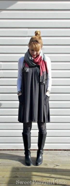 Grey Dreess, plaid scarf, polka dot tights2