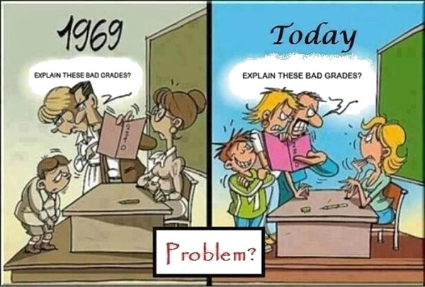 1969: A child's parents blame him for his bad grades. Today: A child's parents blame his teacher for his bad grades.