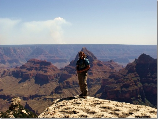 Mike at Cape Final & smoke from SR fire North Rim Grand Canyon National Park Arizona