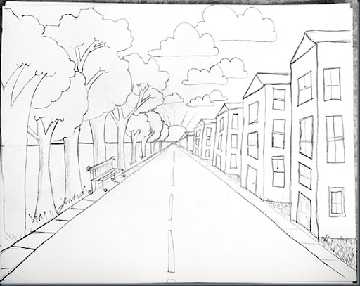smART Class Drawing Steps for One Point Perspective