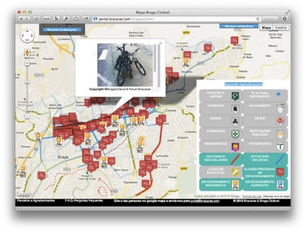 Mapa Braga Ciclável - informações úteis para o planeamento urbano
